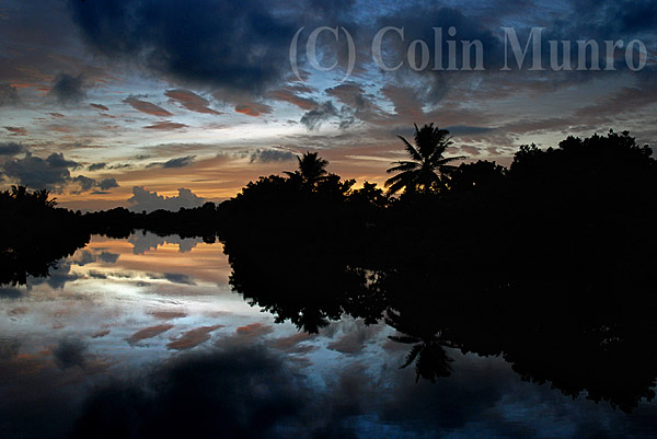 Sunrise over the Navua river near the mouth at Beqa Lagoon, Viti Levu, Fiji.  Image MBI000583