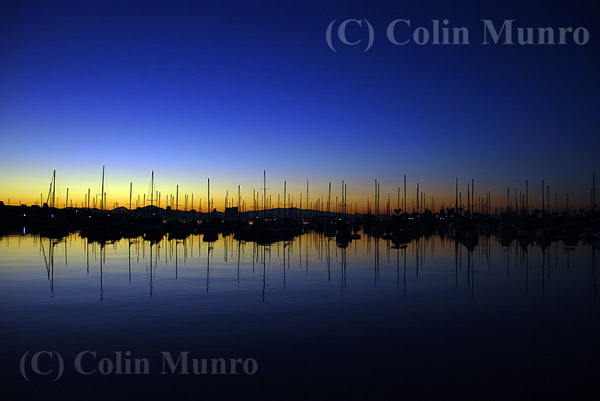 Yachts silhouetted just before dawn, San Diego harbour. Image MBI000899.