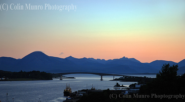 Skye Bridge, Kyle of Loch Alsh at sunset, looking across the Isle of Skye.