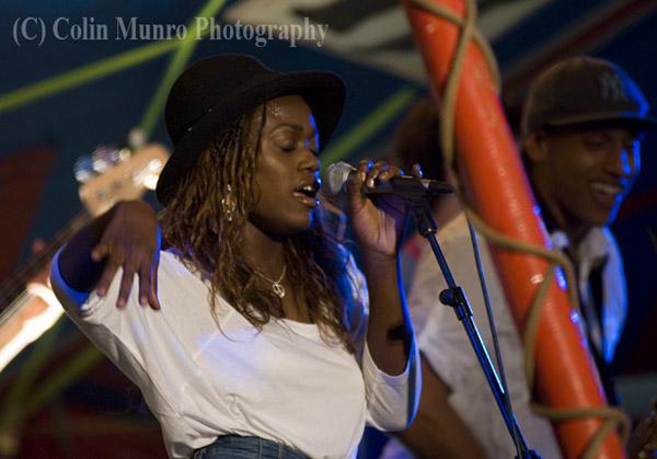 Juanita Euka, singer with London based cuban samba, timba and funk fusion band Wara at Exeter's Respect Festival, 2011. Image no. MBI000923.