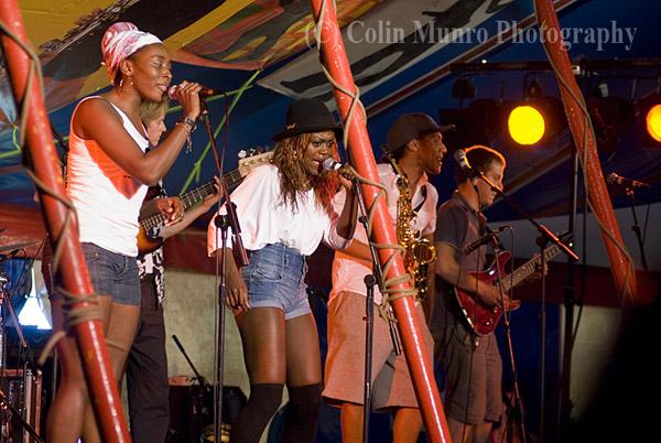 London based cuban samba, timba and funk fusion band Wara performing at at Exeter's Respect Festival, 2011. Image No. MBI000926. Colin Munro Photography.