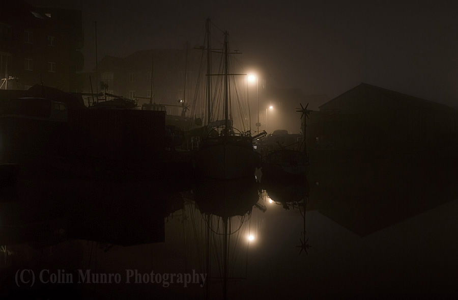 Exeter Canal Basin on a foggy night