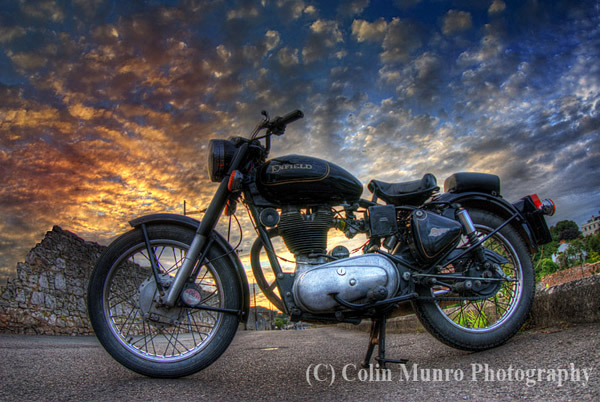 Enfield Bullet 500cc at sunset. Prints for sale, Colin Munro Photography.