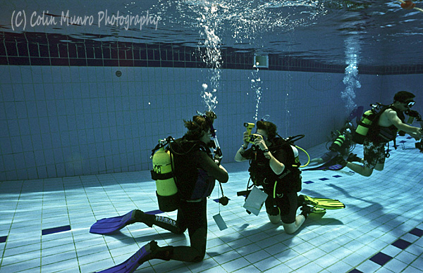 Underwater photography course pool session, Colin Munro Photography