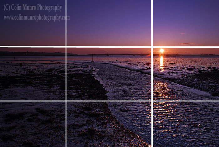 Image illustrating rule of thirds. Sunrise over mudflats, Exe Estuary near Cockwood Harbour. Colin Munro Photography