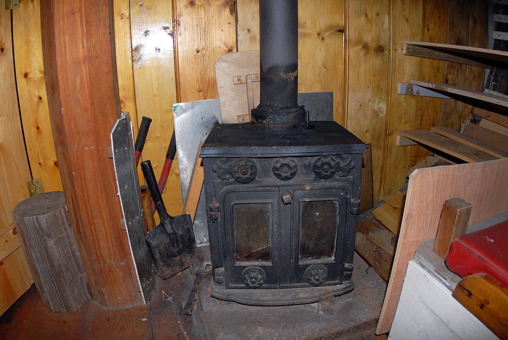 Wood burning stove in saloon.  September 2013.