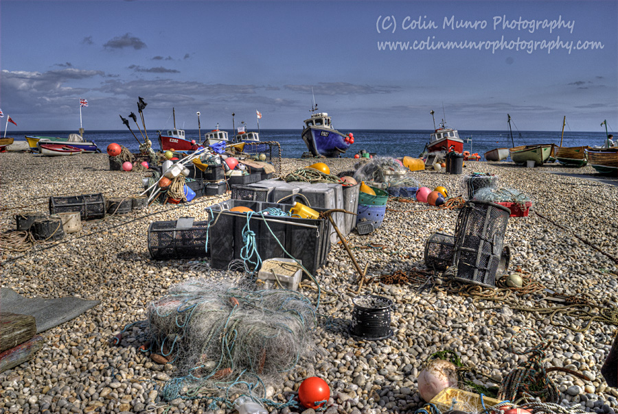 The beach at Beer, a busy fishing harbour in South Devon, England. print for sale. Colin Munro Photography