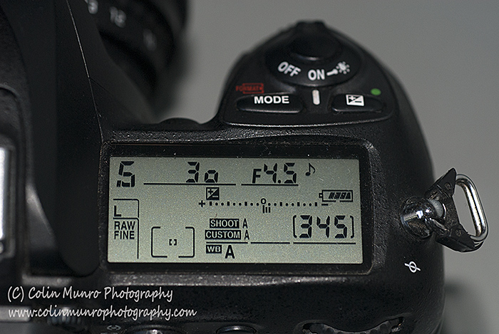 The LCD Display on a Digital SLR camera showing the shutter speed (here set to 1/30th of a second).  This diplay may be on the top or back of the camera, depending on model. Colin Munro Photography