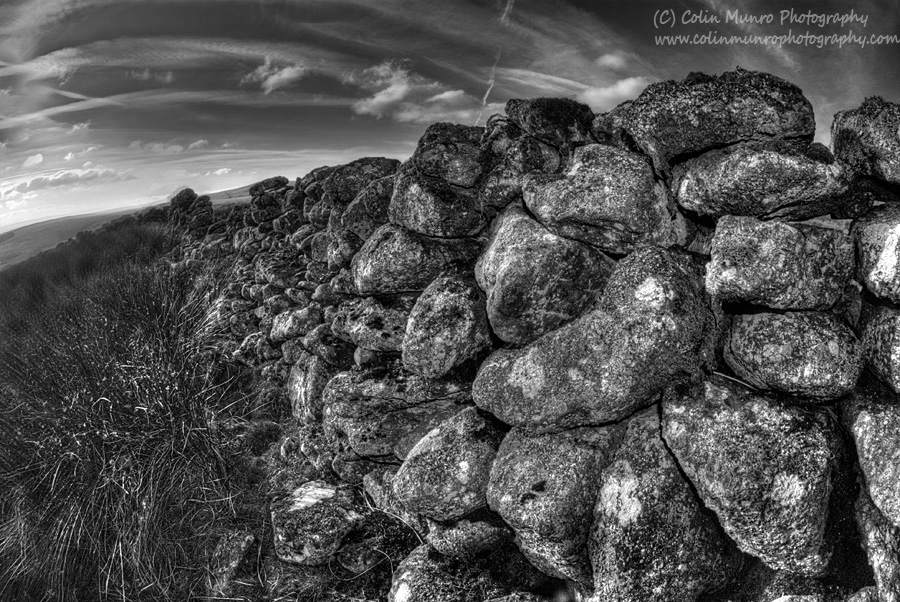 A dry stone wall, East Dart Valley, Dartmoor. Fine art print for sale.