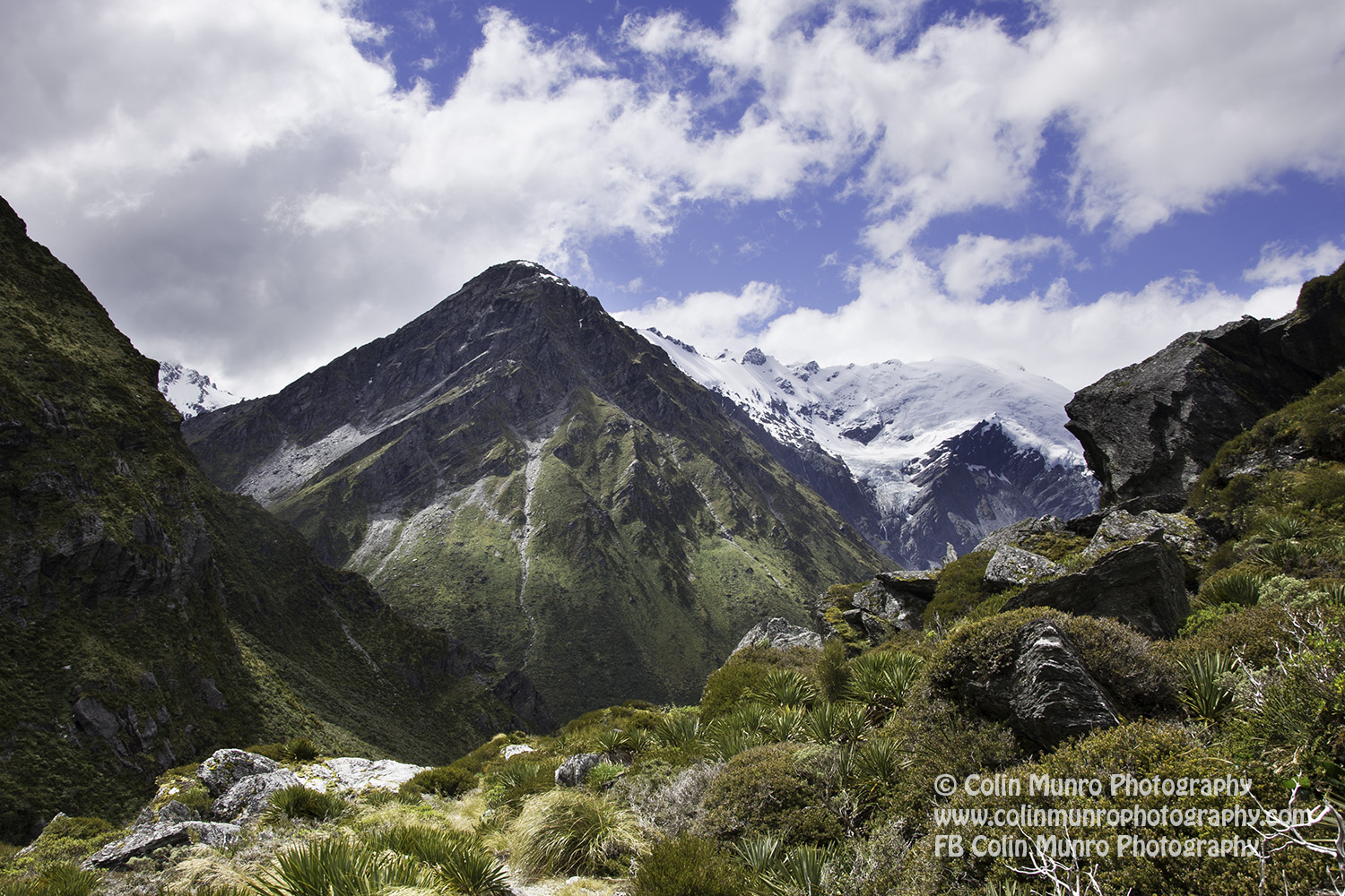 The views above Rees Saddle are well worth the hike to get there.. Rees Dart Track, Mount Aspiring National Park, Southern Alps, new Zealand. Copyright Colin Munro Photography