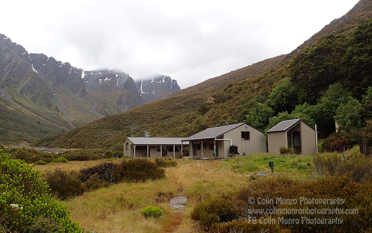 The welcome sight of Shelter Rock Hut as the rain clouds begin to gather.