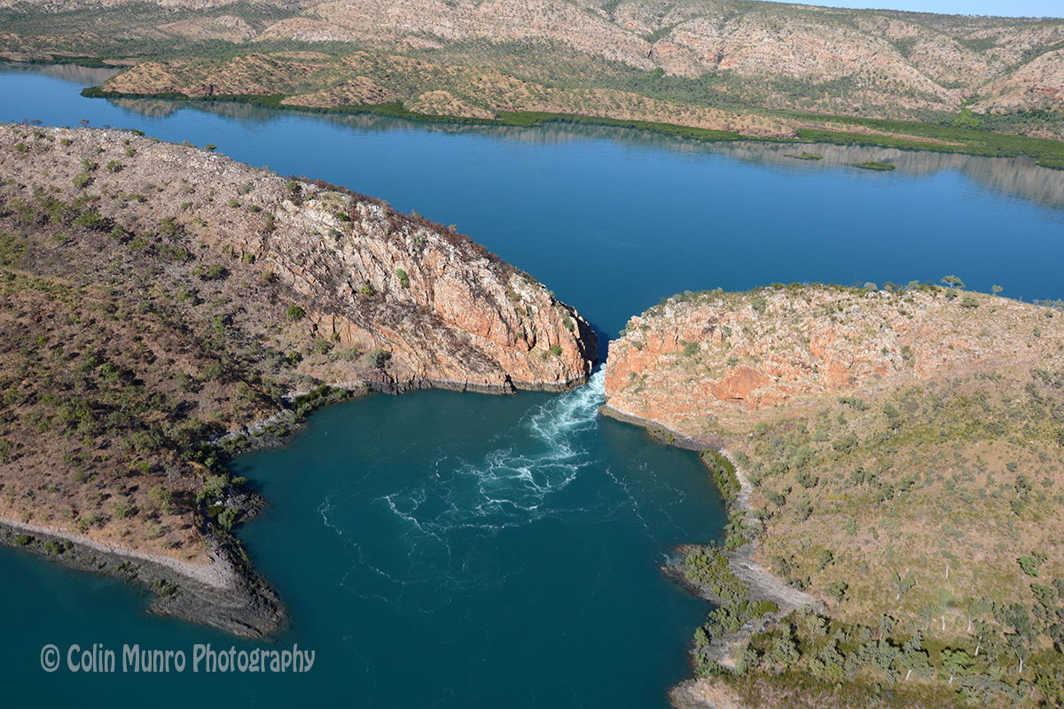 The Horizontal Falls, seen from the air.