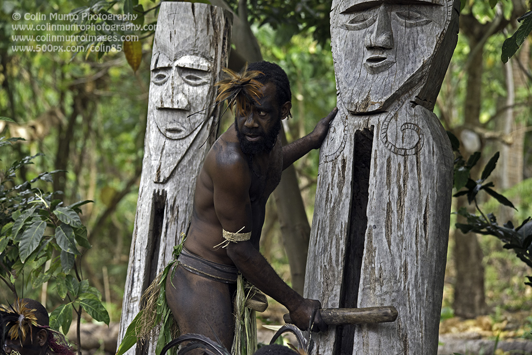 A drummer beats out a rhythm on hollow wooden statues, keeping the dancers in time. Malekula, Vanuatu. © Colin Munro Photography