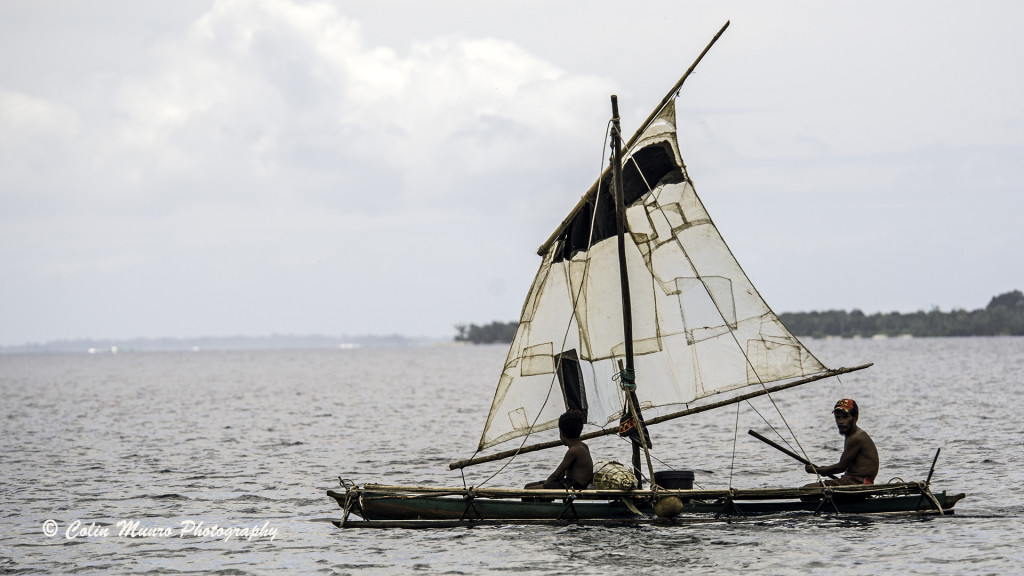 Sailau, a lug rigged outrigger canoe, or proa, Dobu Island, Milne Bay Province, PNG.