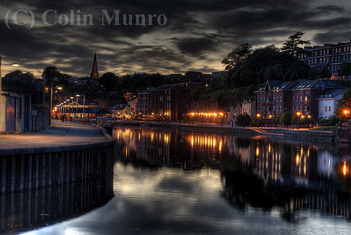 Exeter historic quayside at night