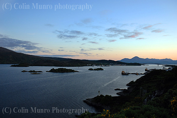Loch Alsh at sunset, looking west towards the Kyle of Lochalsh and the Skye Bridge. Image MBI000902.
