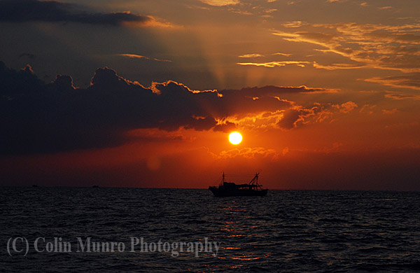 Fishing boat at sunset, Eastern Mediterranean, off Egypt