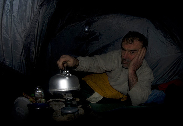 Colin Munro Dartmoor Devon in tent before dawn mid-winter