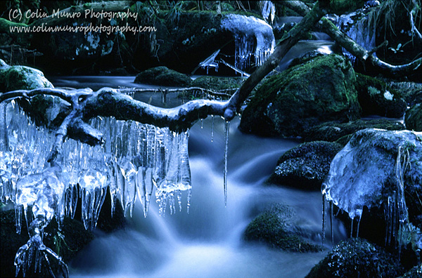 Icicles above a small waterfall on the South Teign River, Dartmoor, Devon, England. Colin Munro Photography. www.colinmunrophotography.com