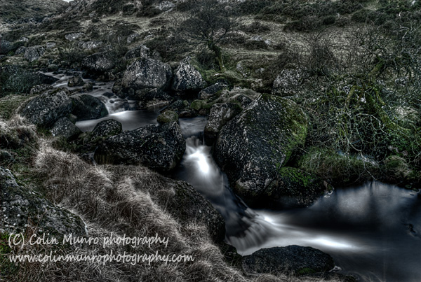 The East Dart River tumbles through a boulder strewn valley, East Dartmoor.  An HDR image.  This image is available as a fine art print to purchase. Colin Munro Photography. www.colinmunrophotography.com