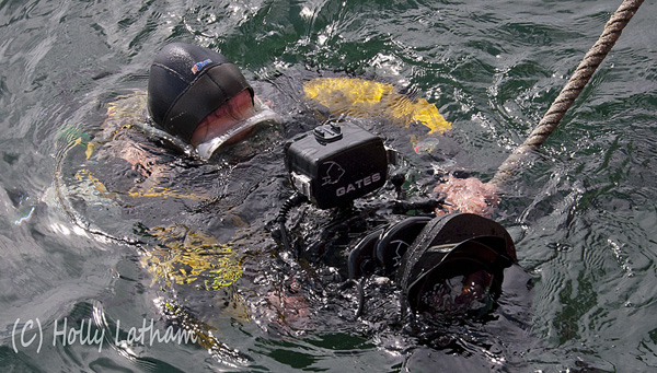 Colin Munro setting up a Sony EX1 in a Gates Underwater housing on the surface prior to a dive. (C) Holly Latham.ll size video housing above the surface