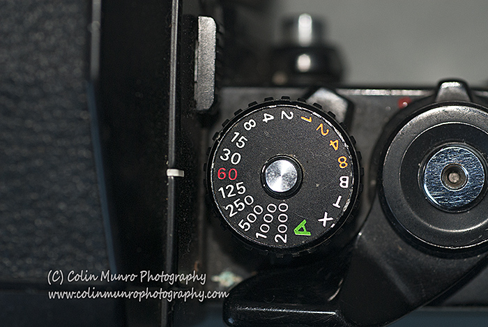 Shutter speed control on a film SLR, showing standard shutter duration increments. Colin Munro Photography