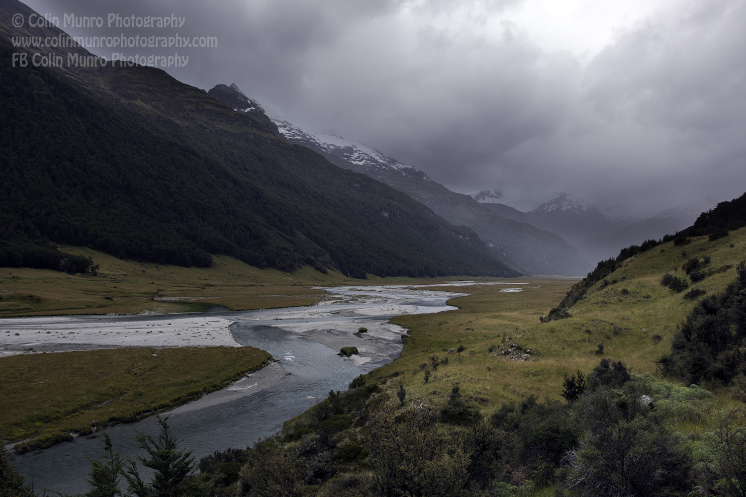 The walk along the Rees River valley from Muddy Creek Car Park to past Lennox Falls. Rees Dart Track, Mount Aspiring National Park. Copyright Colin Munro Photography