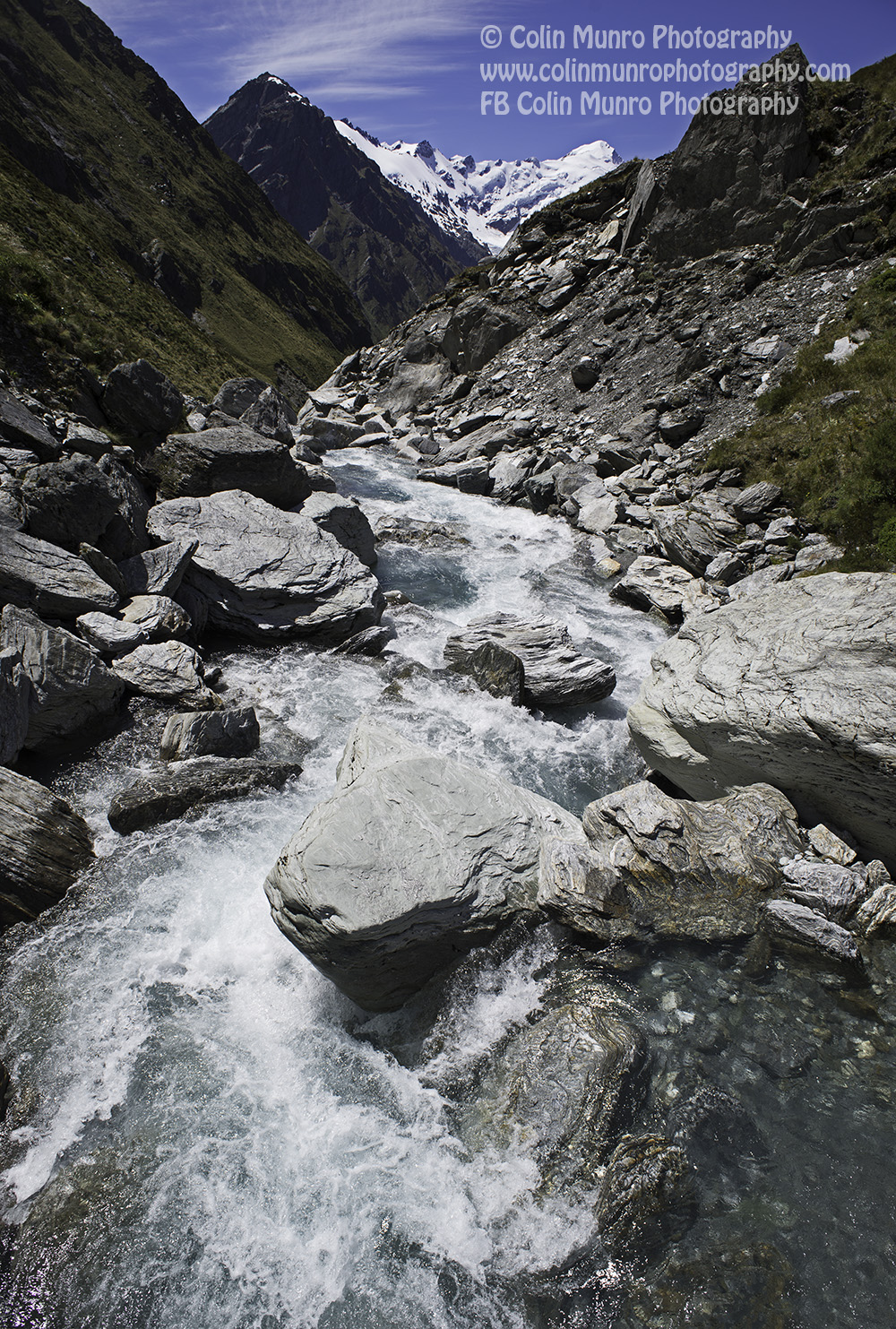 Snowy Creek cascades down near Rees Saddle. Rees Dart Track. Copyright Colin Munro Photography
