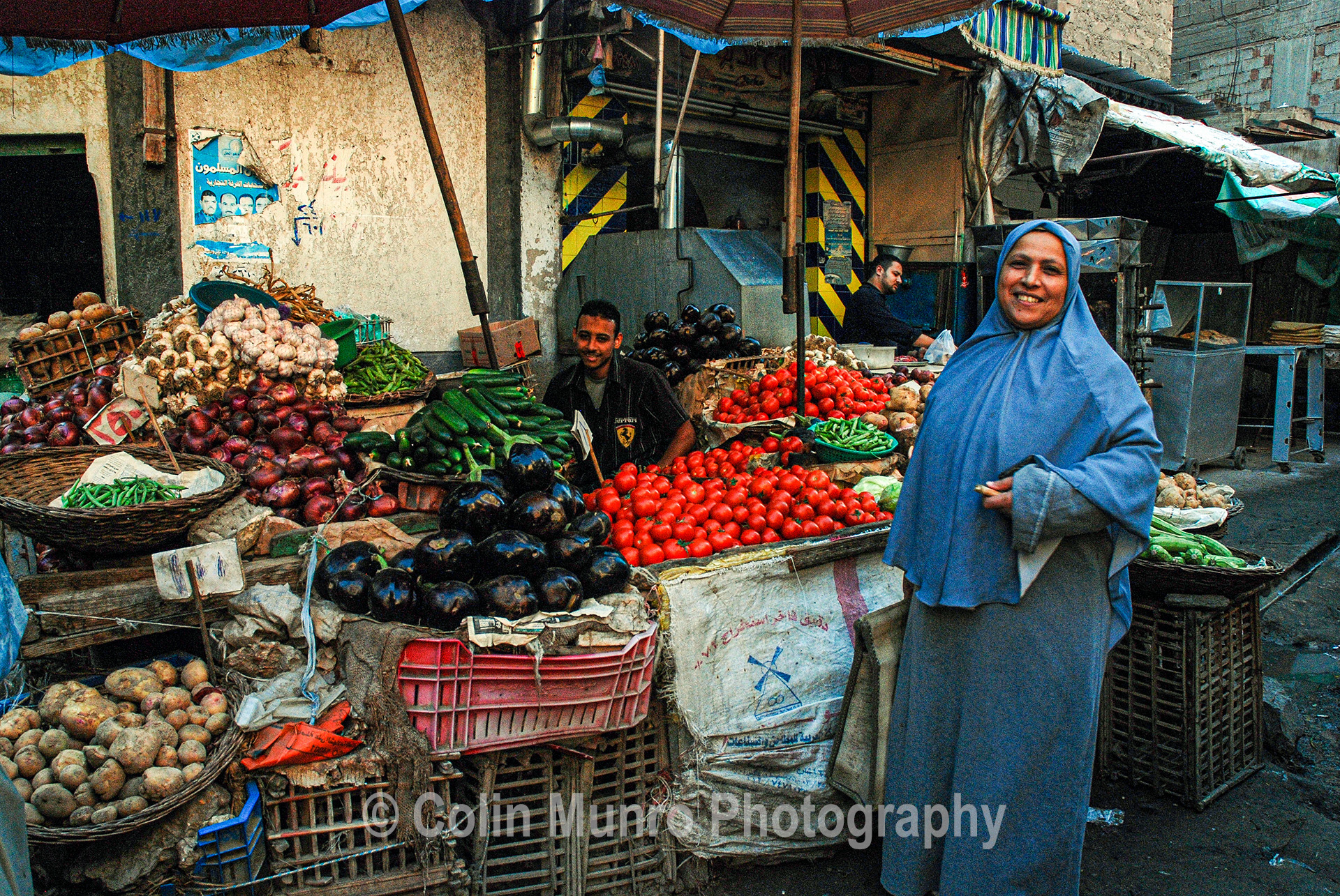 Vegetables on sale, Abu Qir market stalls.