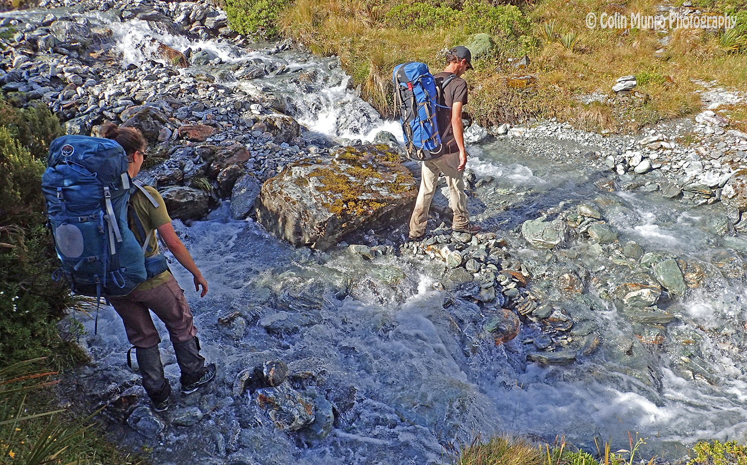 Jesse and Alecia, companions along part of the track, at one of the many stream crossings.