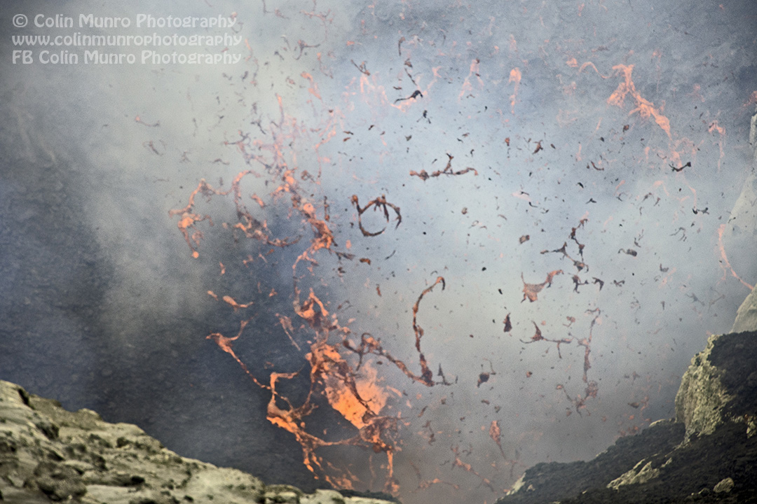 Molten lava explodes out of the vent within Mount Yasur volcano, Tanna, Vanuatu. © Colin Munro Photography