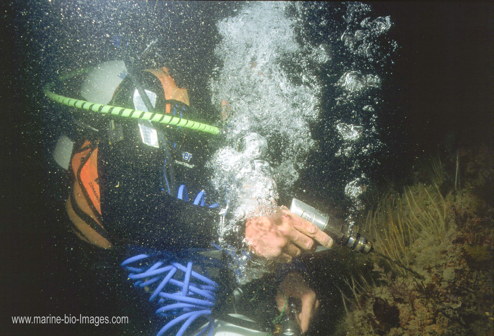 Marine biologist Colin Munro using an underwater pneumatic drill to create piton holes for an underwater monitoring station, following the Sea Empress oil spill. www.marine-bio-images.com www.colinmunrophotography.com